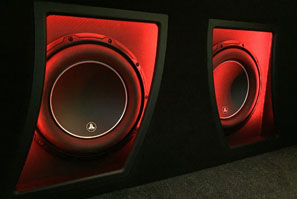 JL Audio 10w6 Subwoofers Carbon Fiber Red LED accents