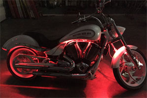 Custom motorcycle LED lighting upgrades Boston Red Sox